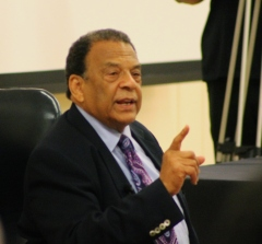 Following the viewing of the documentary, Young further explained his experiences during the Civil Rights Movement before taking questions from the audience.  He discussed his views on the 50th Anniversary of the March on Washington, how much progress has been made, and how much progress still needed to be made, with an emphasis on economics.